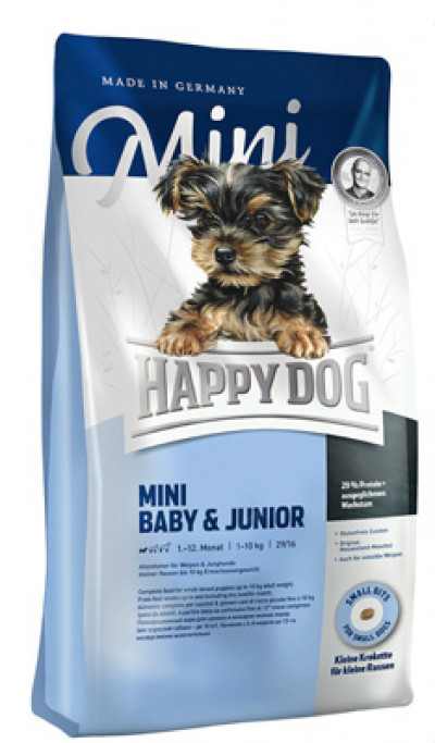 Happy Dog Mini Baby & Junior (Хэппи дог Мини щенки и юниоры 29/16) для щенков мелких пород собак до 10 кг 300г арт.03410