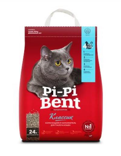 Наполнитель Pi-Pi-Bent Классик комкующийся для кошек 10кг 24л