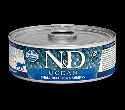 Фармина (FARMINA N&D CAT OCEAN TUNA, COD & SHRIMP) консервы для кошек с тунцом, креветками и треской 80гр арт. 1205