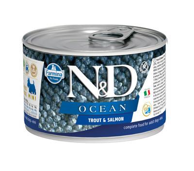 Фармина (FARMINA N&D DOG OCEAN TROUT & SALMON MINI) консервы для собак мини пород Форель и лосось 140гр арт.1230