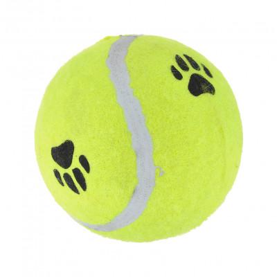 """Beeztees Игрушка для собак """"Мячик теннисный с отпечатками лап"""", желтый, 6,5 см  арт.16213"""
