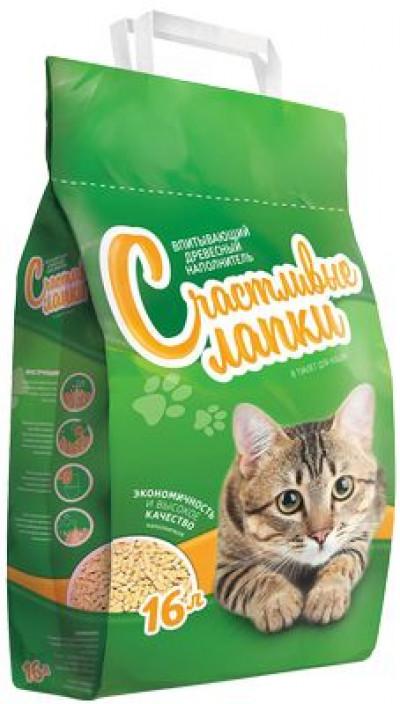 Наполнитель Счастливые Лапки для кошек древесный 8л
