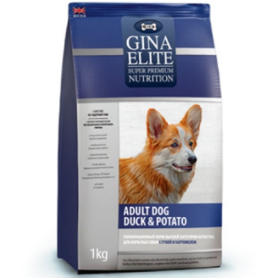-Gina (Джина) ELITE DOG Корм беззерновой сухой для взрослых собак Утка с картофелем 15кг арт.72497
