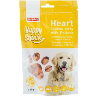 -Беафар Лакомство для собак Нежные сердечки из курицы и трески Happy Snack 60г