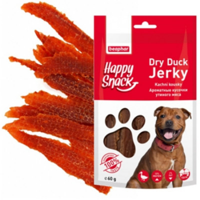 -Беафар Лакомство для собак Ароматные кусочки утиного мяса Happy Snack 60г