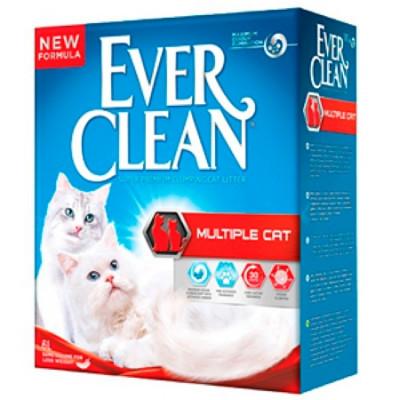 EVER CLEAN Multiple Наполнитель комкующийся для нескольких кошек 10л (Красная полоса)