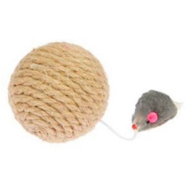 PERSEILINE ШАР-КОГТЕТОЧКА с мышкой джут 8 см