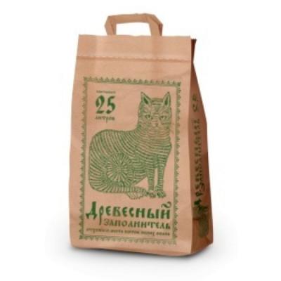 Наполнитель Pi-Pi-Bent впитывающий для туалета кошек крафт-пакет древесный 25 л