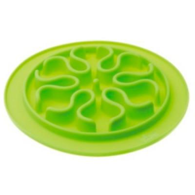 V.I.Pet Миска силиконовая рельефная (волны) игровая для медленного поедания корма (салатовая) 24 см