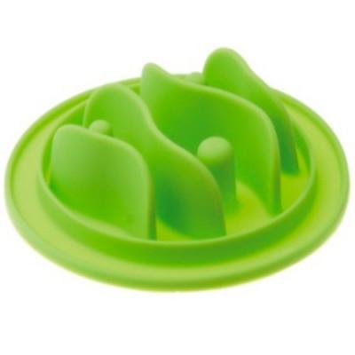 V.I.Pet Миска силиконовая рельефная (рыбки) игровая для медленного поедания корма (салатовая) 15 см