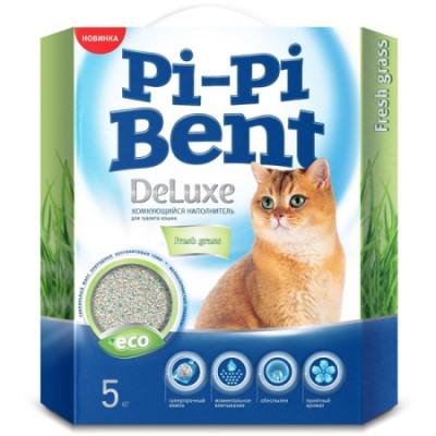 Наполнитель Pi-Pi-Bent DeLuxe Fresh grass комкующийся для кошек 5кг