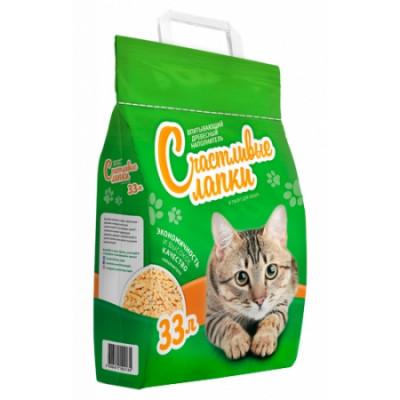 Наполнитель Счастливые Лапки для кошек древесный 33л