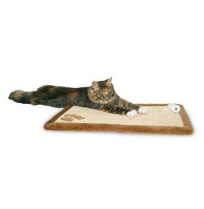 TRIXIE Когтеточка-коврик для кошек коричневая  сизаль с плюшем 55х35см