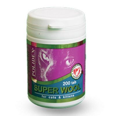 POLIDEX Супер Вул плюс улучшает состояние шерсти, кожи, когтей для кошек 200 таб