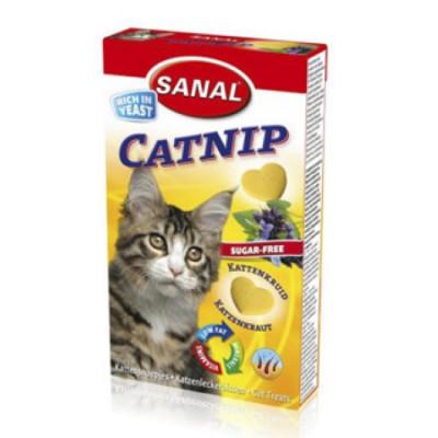 Санал для кошек Кэтнип Антистрессоввые витамины с кошачьей мятой 30г 40таб