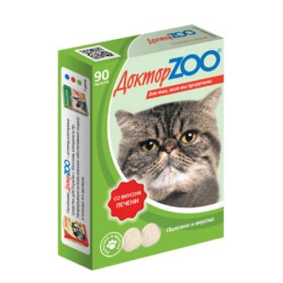 ДОКТОР ЗОО витамины для кошек со вкусом Печени 90 таб