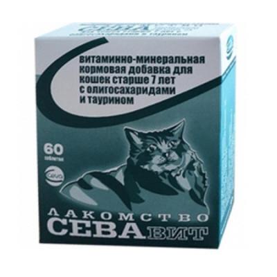 СЕВАвит витаминно-минеральная кормовая добавка для кошек старше 7 лет с олигосахаридами и таурином 60 таб
