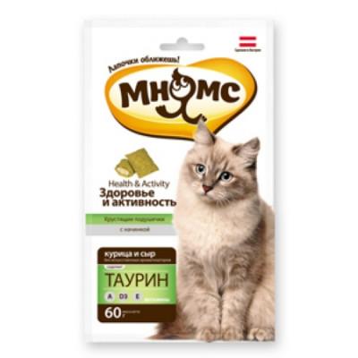 """Лакомство """"Мнямс"""" хрустящие подушечки для кошек с курицей и сыром"""