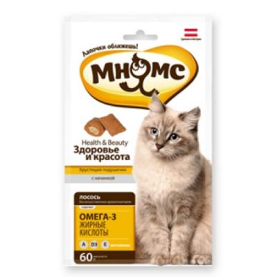 """Лакомство """"Мнямс"""" хрустящие подушечки для кошек с лососем"""