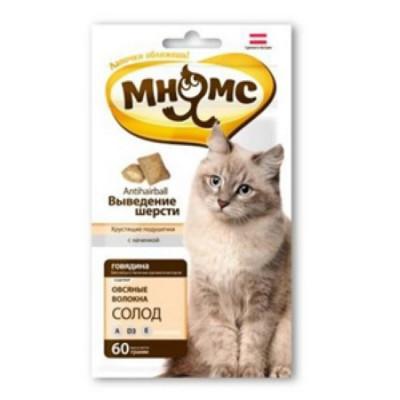 """Лакомство """"Мнямс"""" хрустящие подушечки для кошек с говядиной"""