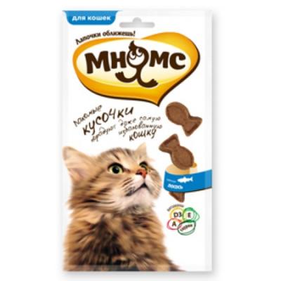 """Лакомство """"Мнямс"""" лакомые кусочки для кошек в форме рыбок со вкусом лосося 35 гр"""