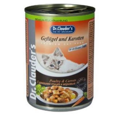 Dr Clauder консервы для кошек кусочки в соусе домашняя птица с морковью 415 гр