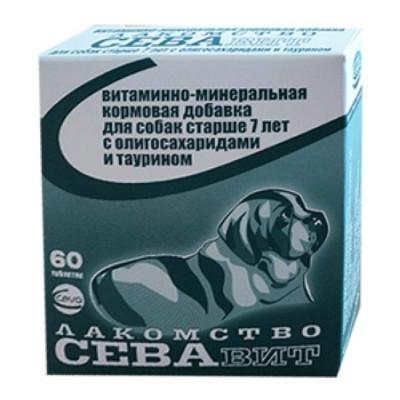 Севавит витаминно-минеральная кормовая добавка для собак старше 7 лет с олигосахаридами и таурином 60 таб