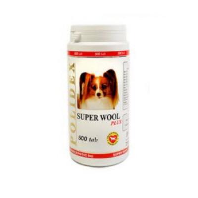 POLIDEX Супер Вул плюс улучшает состояние шерсти, кожи для собак 500 таб