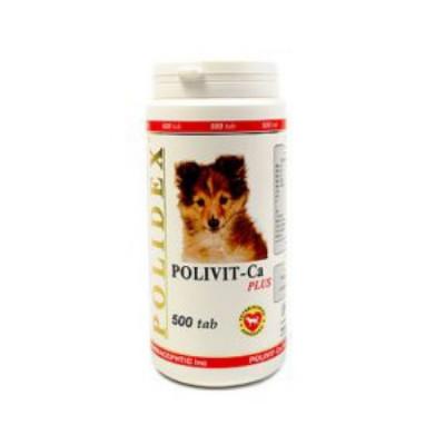 POLIDEX Поливит кальций плюс улучшение роста костной ткани для собак 500 таб