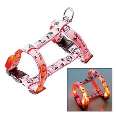 V.I.Pet Шлейка светящаяся «Собачки и лапки» 15 мм  (27-37х35-43 см) M