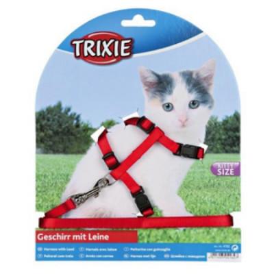TRIXIE Шлейка для котят однотонная с поводком нейлон 19-31смх8мм