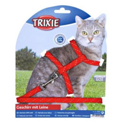 TRIXIE Шлейка для кошек светоотражающая с поводком 30смх10мм