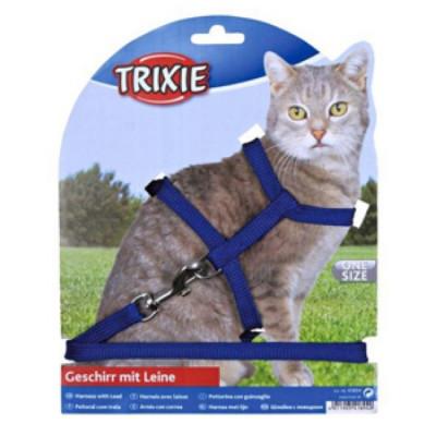 TRIXIE Шлейка для кошек однотонная с поводком  нейлон 35смх10мм