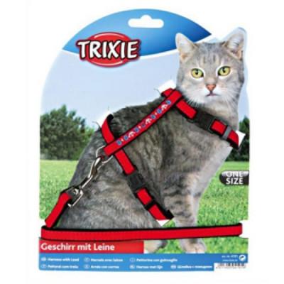 TRIXIE Шлейка для кошек с вышивкой и поводком  нейлон 22-36смх10мм