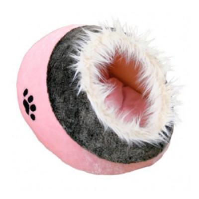 """TRIXIE Лежак-пещера для собак и кошек """"Minou"""" розово серый, плюш 41х42х26см"""