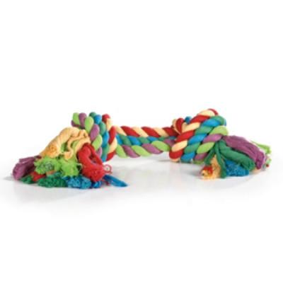 """Beeztees Игрушка для собак """"Канат с 2-мя узлами"""" разноцветный 300гх38см"""