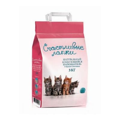 Наполнитель Счастливые Лапки для кошек комкующийся 3кг