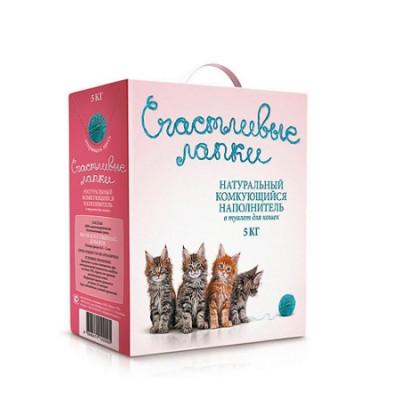 Наполнитель Счастливые Лапки для кошек комкующийся 5кг
