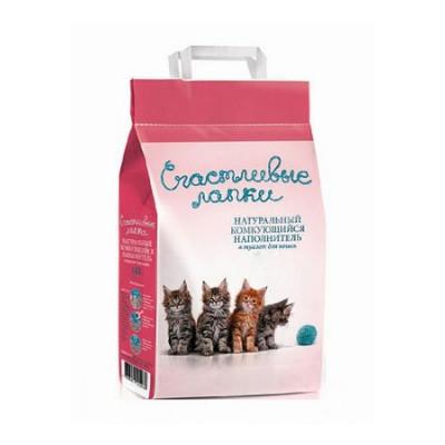 Наполнитель Счастливые Лапки для кошек комкующийся 10кг