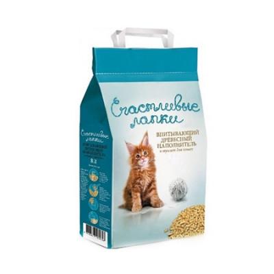Наполнитель Счастливые Лапки для кошек древесный 16л