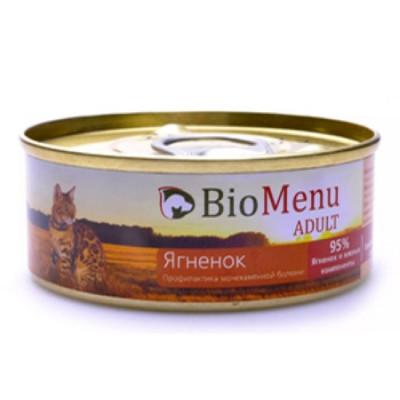 BioMenu ADULT Консервы для кошек мясной паштет с ягненком  95%-мясо 100гр