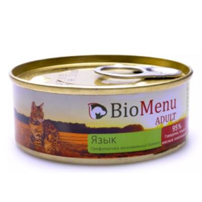 BioMenu ADULT Консервы для кошек мясной паштет с языком  95%-мясо 100гр