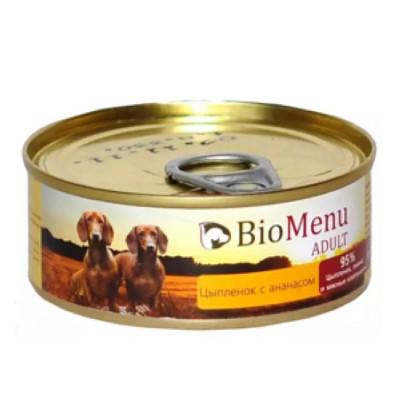 BioMenu ADULT Консервы для собак цыпленок с ананасами 95%-мясо 100гр
