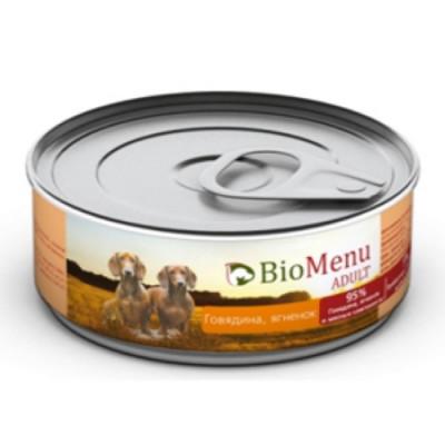 BioMenu ADULT Консервы для собак говядина и ягненок 95%-мясо 100гр