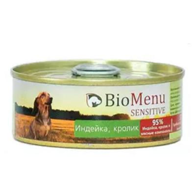 BioMenu SENSITIVE Консервы для собак индейка и кролик 95%-мясо 100гр