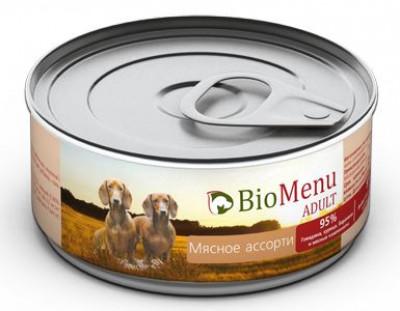 BioMenu ADULT Консервы для собак мясное ассорти 95%-мясо 100гр