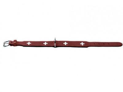 Hunter ошейник для собак Swiss 42 (35-39,5 см) кожа красный/черный
