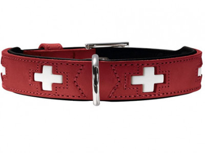 Hunter ошейник для собак Swiss 32 (24-28 см) кожа красный/черный