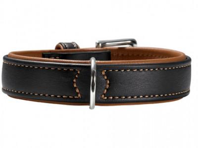 -Hunter ошейник для собак Canadian 65 (50-56 см) кожа лося черный/коньячный