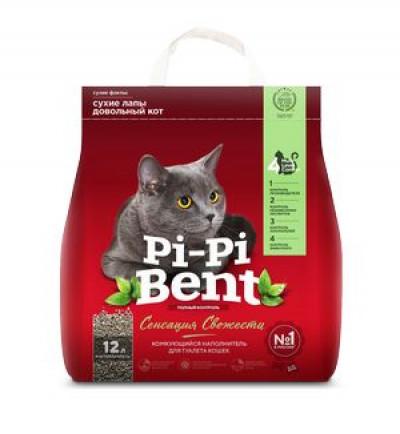 Наполнитель Pi-Pi-Bent Сенсация свежести комкующийся для кошек (пэ пакет) 5кг 12л